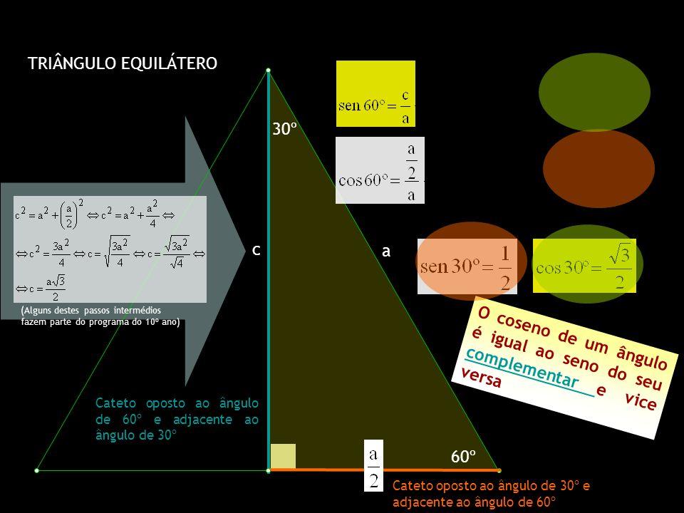 TRIÂNGULO EQUILÁTERO 30º 60º a c Cateto oposto ao ângulo de 30º e adjacente ao ângulo de 60º Cateto oposto ao ângulo de 60º e adjacente ao ângulo de 3