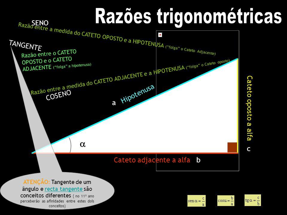 Cateto oposto a alfa Cateto adjacente a alfa Hipotenusa a b c SENO C O S E N O T A N G E N T E ATENÇÃO: Tangente de um ângulo e recta tangente são con