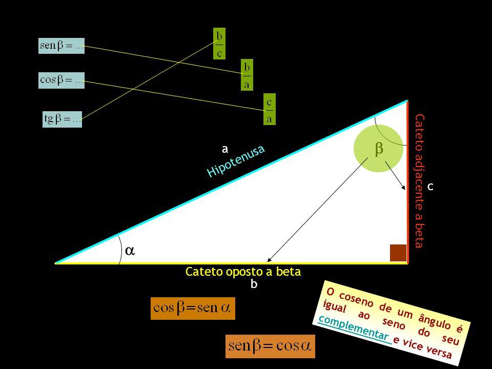 Cateto oposto a beta Cateto adjacente a beta Hipotenusa a b c O c o s e n o d e u m â n g u l o é i g u a l a o s e n o d o s e u c o m p l e m e n t