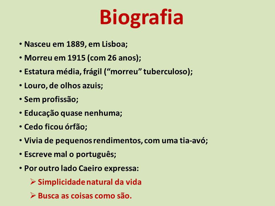 Biografia Nasceu em 1889, em Lisboa; Morreu em 1915 (com 26 anos); Estatura média, frágil (morreu tuberculoso); Louro, de olhos azuis; Sem profissão;