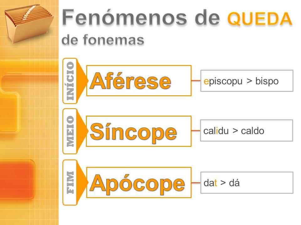 INÍCIO MEIO FIM episcopu > bispo calidu > caldo dat > dá