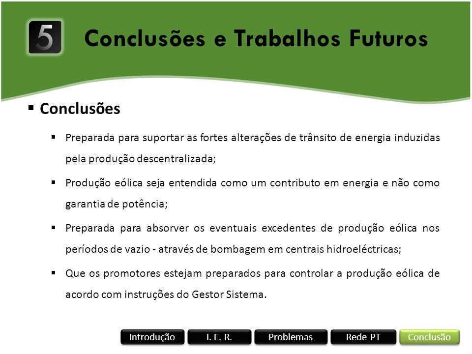 Conclusões e Trabalhos Futuros Rede PT I. E. R. Conclusão Problemas Introdução Conclusões Preparada para suportar as fortes alterações de trânsito de