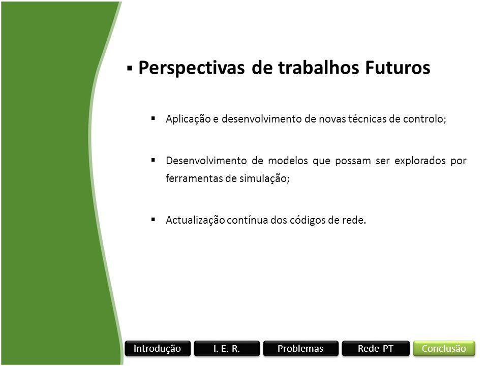 Rede PT I. E. R. Conclusão Problemas Introdução Perspectivas de trabalhos Futuros Aplicação e desenvolvimento de novas técnicas de controlo; Desenvolv