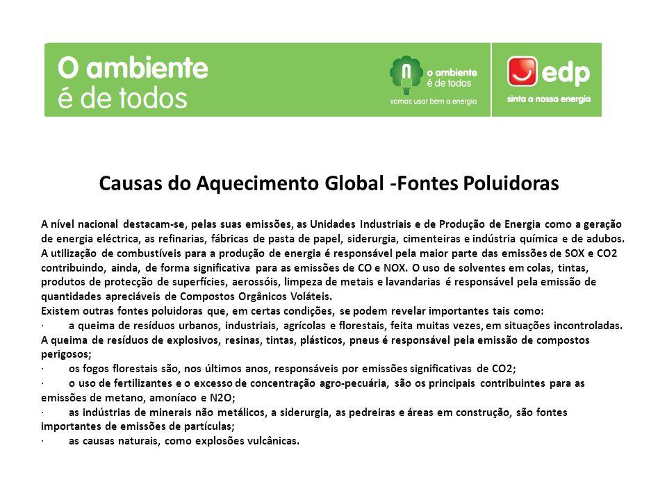 Causas do Aquecimento Global -Fontes Poluidoras A nível nacional destacam-se, pelas suas emissões, as Unidades Industriais e de Produção de Energia co
