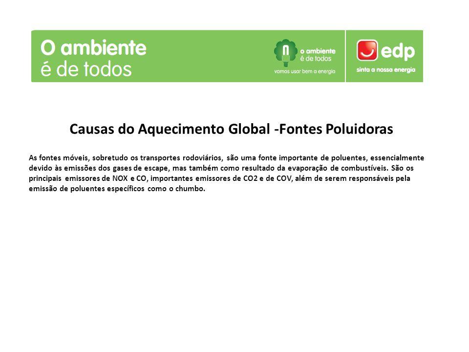 Causas do Aquecimento Global -Fontes Poluidoras As fontes móveis, sobretudo os transportes rodoviários, são uma fonte importante de poluentes, essenci