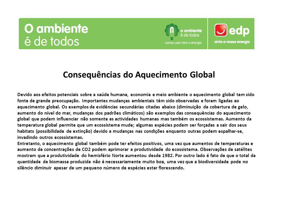 Consequências do Aquecimento Global Devido aos efeitos potenciais sobre a saúde humana, economia e meio ambiente o aquecimento global tem sido fonte d