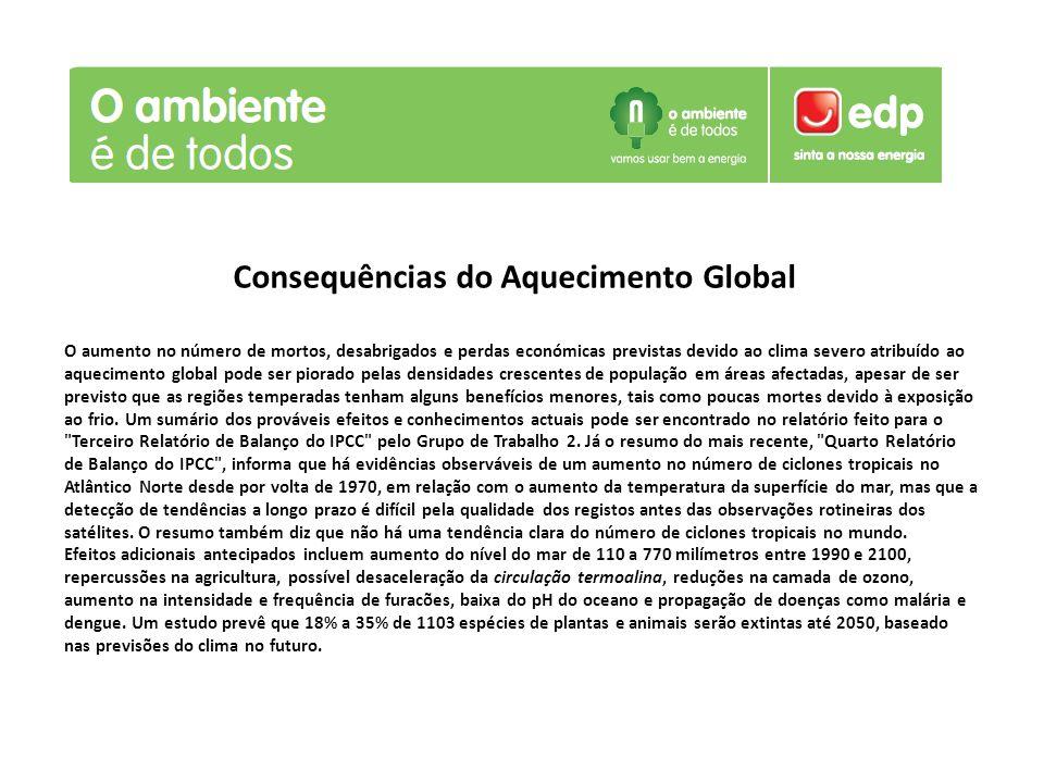Consequências do Aquecimento Global O aumento no número de mortos, desabrigados e perdas económicas previstas devido ao clima severo atribuído ao aque