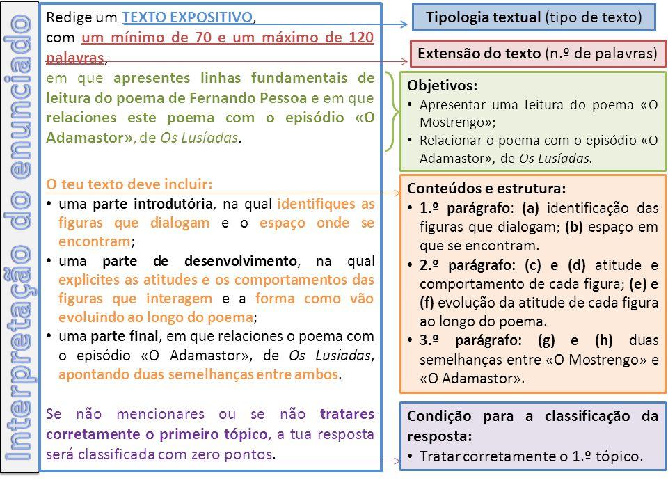 1.º PARÁGRAFO a)Identificação das figuras que dialogam: Mostrengo; homem do leme.