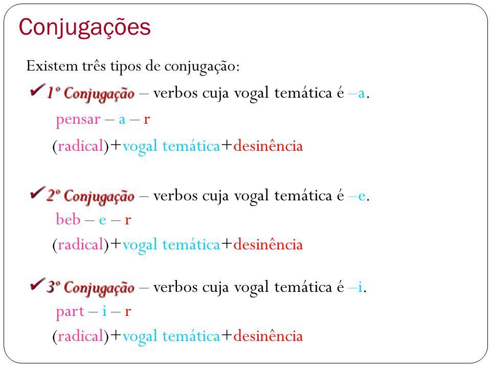 Conjugações Existem três tipos de conjugação: 1º Conjugação 1º Conjugação – verbos cuja vogal temática é –a. pensar – a – r (radical)+vogal temática+d