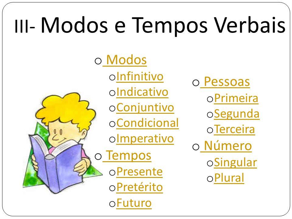 III- Modos e Tempos Verbais o Modos Modos o Infinitivo Infinitivo o Indicativo Indicativo o Conjuntivo Conjuntivo o Condicional Condicional o Imperati