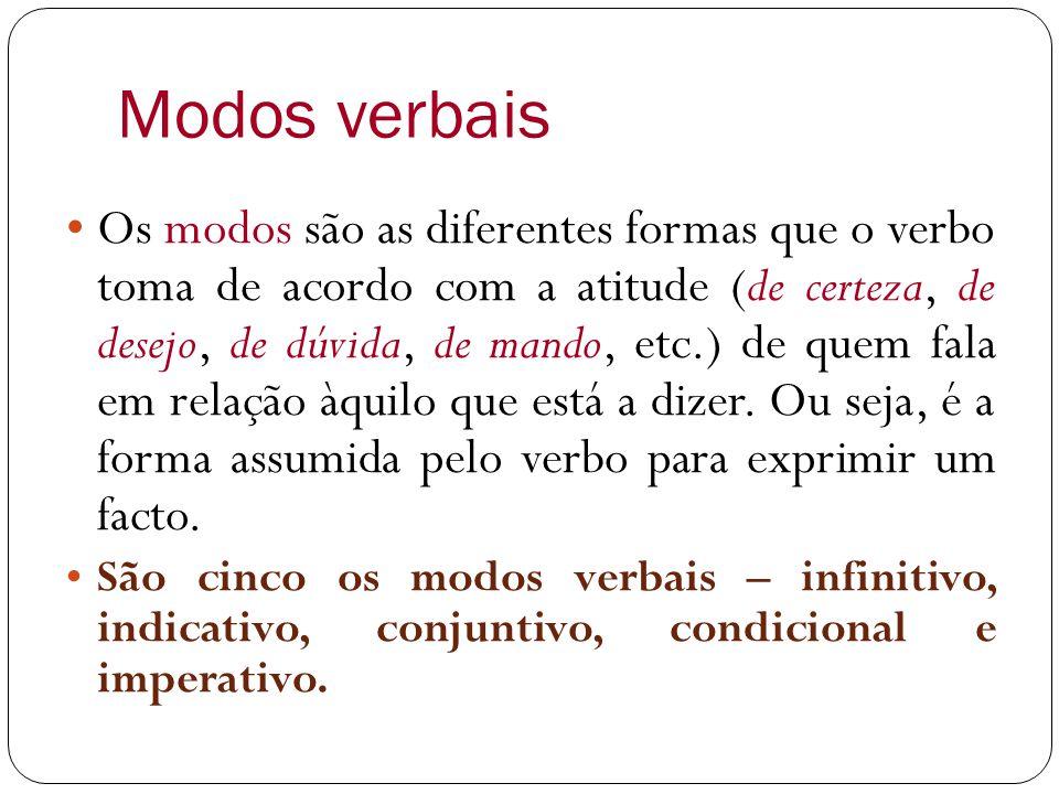 Modos verbais Os modos são as diferentes formas que o verbo toma de acordo com a atitude (de certeza, de desejo, de dúvida, de mando, etc.) de quem fala em relação àquilo que está a dizer.