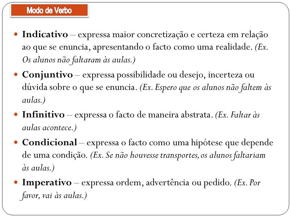 Indicativo – expressa maior concretização e certeza em relação ao que se enuncia, apresentando o facto como uma realidade.