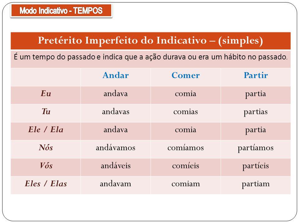 Pretérito Imperfeito do Indicativo – (simples) É um tempo do passado e indica que a ação durava ou era um hábito no passado. AndarComerPartir Euandava