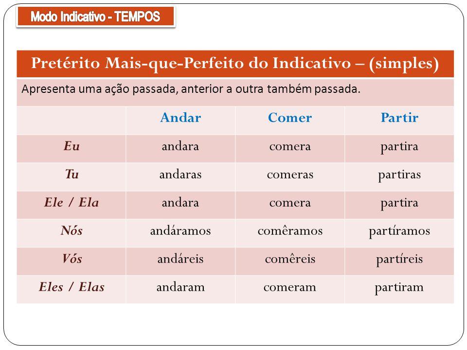 Pretérito Mais-que-Perfeito do Indicativo – (simples) Apresenta uma ação passada, anterior a outra também passada. AndarComerPartir Euandaracomerapart