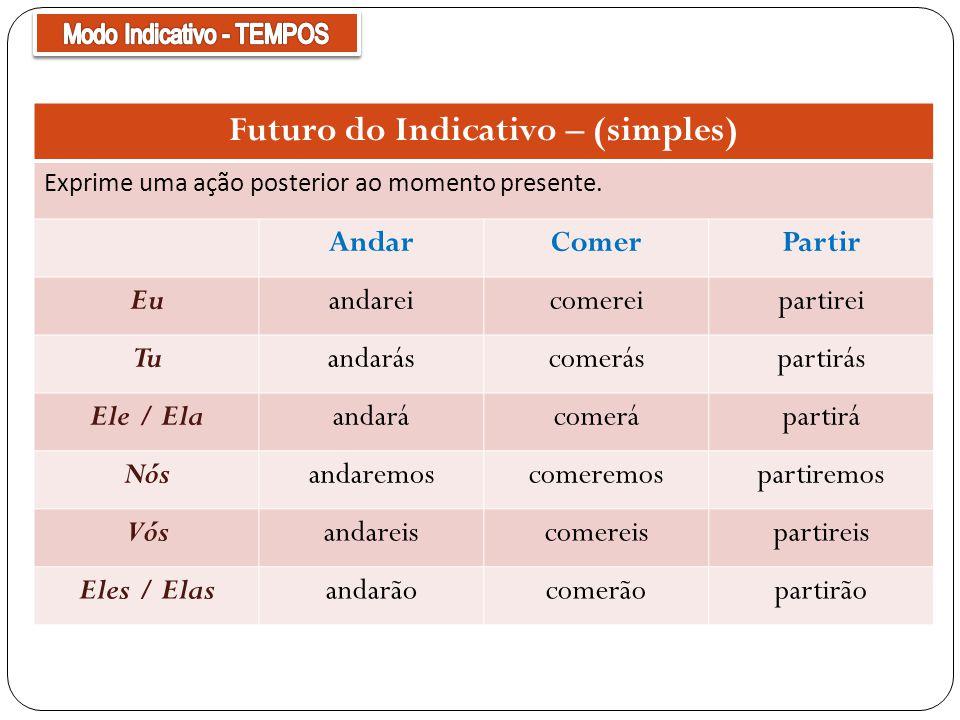Futuro do Indicativo – (simples) Exprime uma ação posterior ao momento presente.