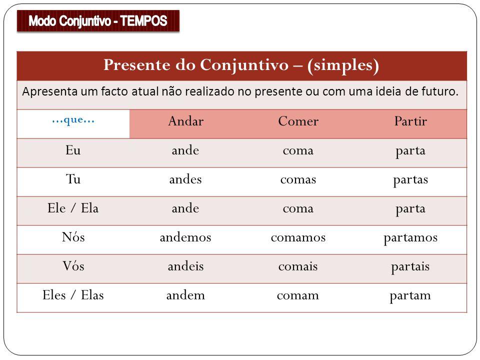 Presente do Conjuntivo – (simples) Apresenta um facto atual não realizado no presente ou com uma ideia de futuro. …que… AndarComerPartir Euandecomapar