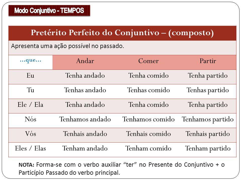 Pretérito Perfeito do Conjuntivo – (composto) Apresenta uma ação possível no passado. …que… AndarComerPartir EuTenha andadoTenha comidoTenha partido T