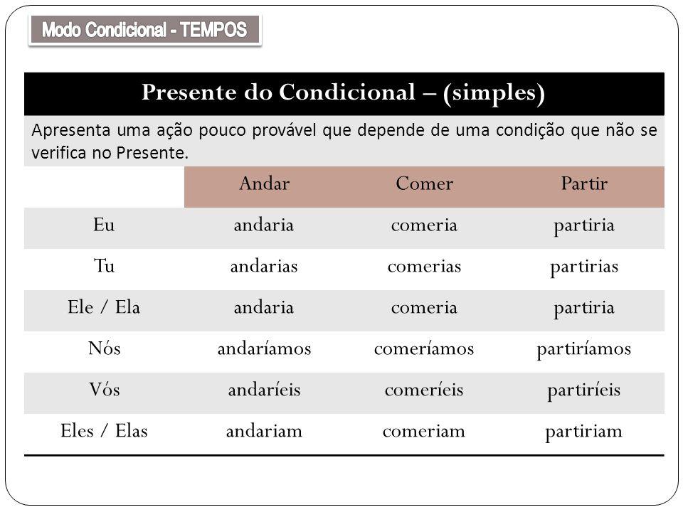 Presente do Condicional – (simples) Apresenta uma ação pouco provável que depende de uma condição que não se verifica no Presente. AndarComerPartir Eu