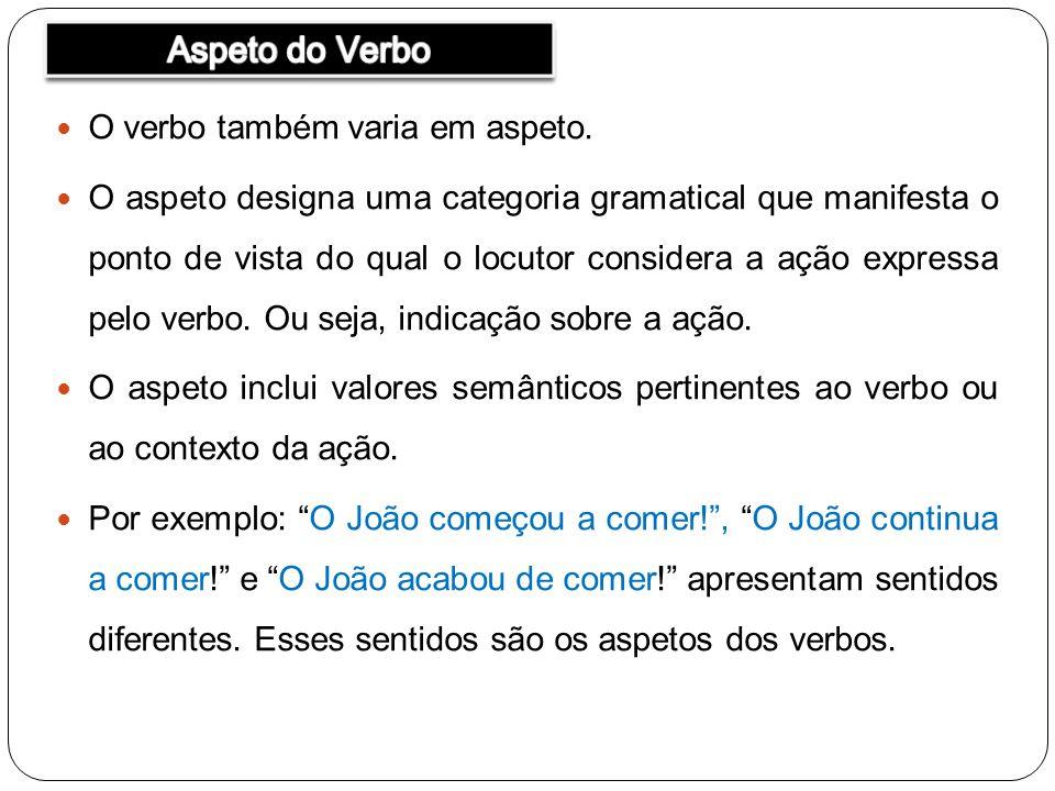 O verbo também varia em aspeto. O aspeto designa uma categoria gramatical que manifesta o ponto de vista do qual o locutor considera a ação expressa p