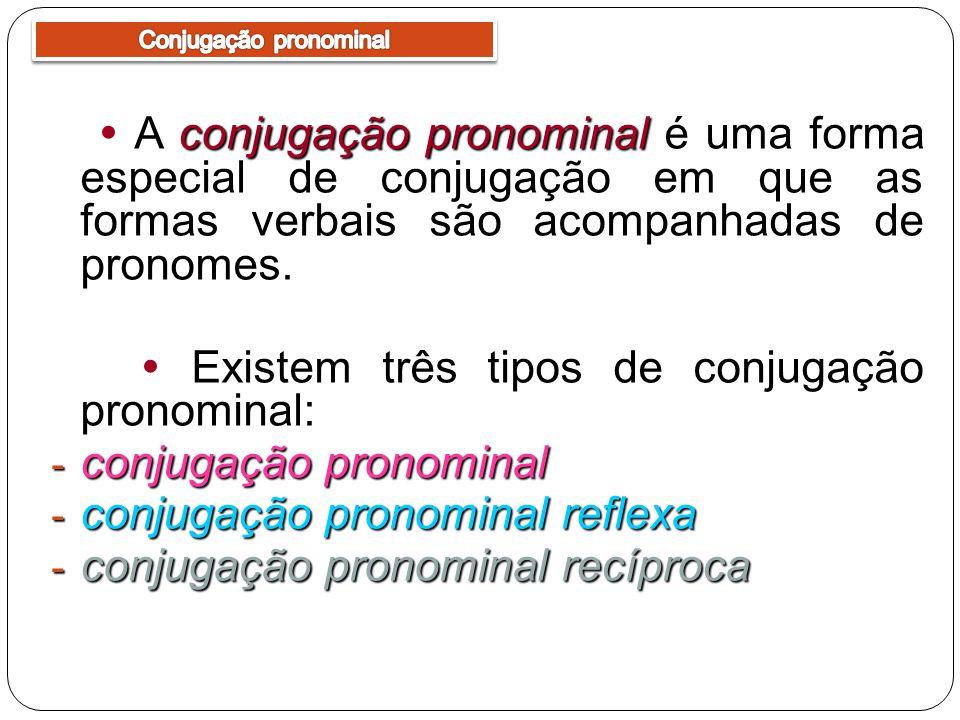 conjugação pronominal A conjugação pronominal é uma forma especial de conjugação em que as formas verbais são acompanhadas de pronomes. Existem três t