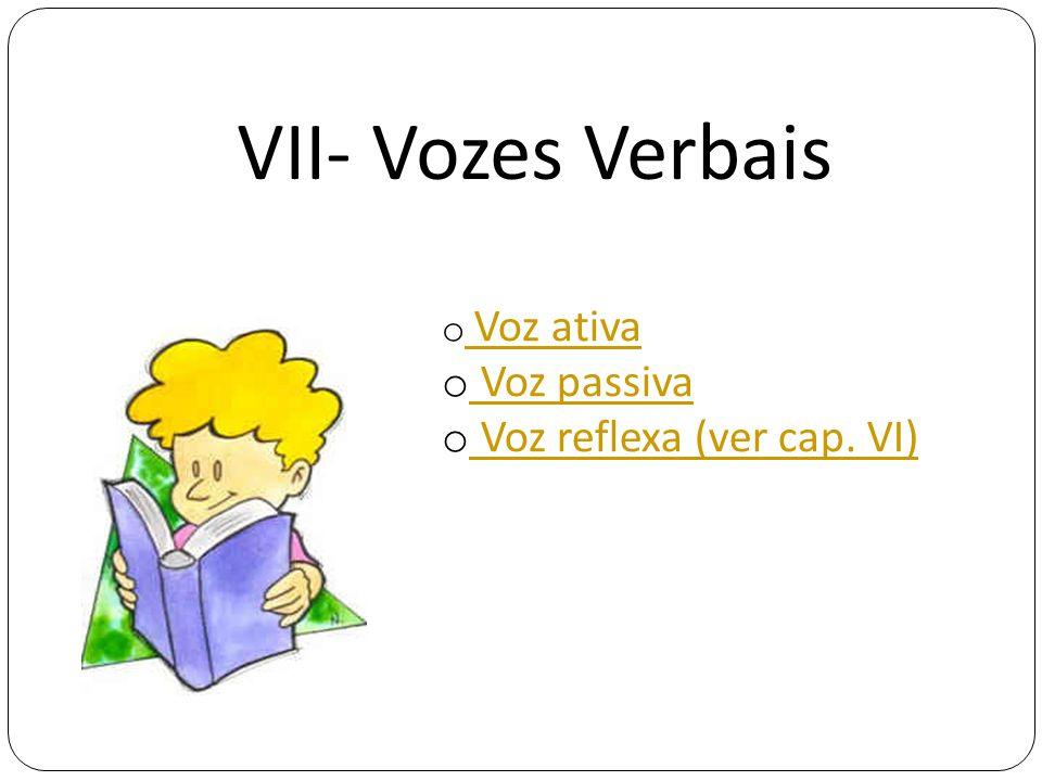 VII- Vozes Verbais o Voz ativa Voz ativa o Voz passiva Voz passiva o Voz reflexa (ver cap. VI) Voz reflexa (ver cap. VI)