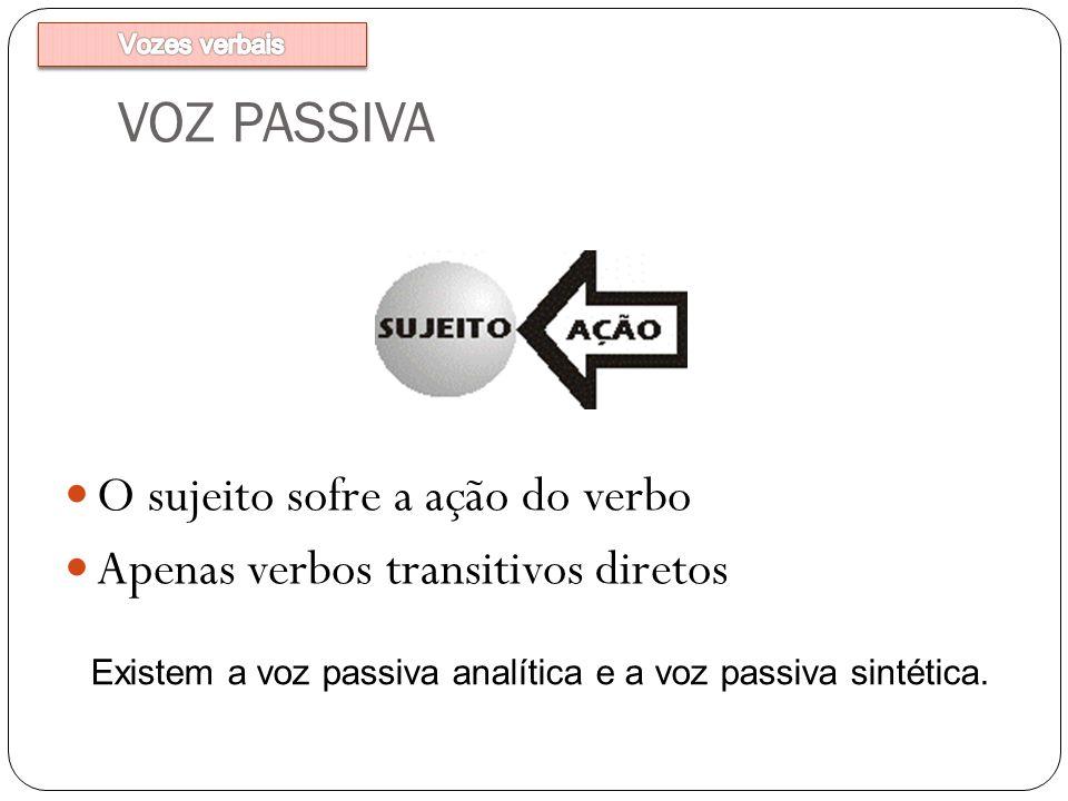VOZ PASSIVA O sujeito sofre a ação do verbo Apenas verbos transitivos diretos Existem a voz passiva analítica e a voz passiva sintética.