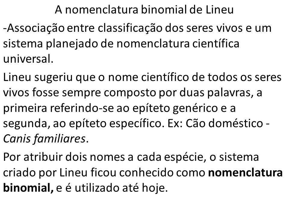 A nomenclatura binomial de Lineu -Associação entre classificação dos seres vivos e um sistema planejado de nomenclatura científica universal. Lineu su