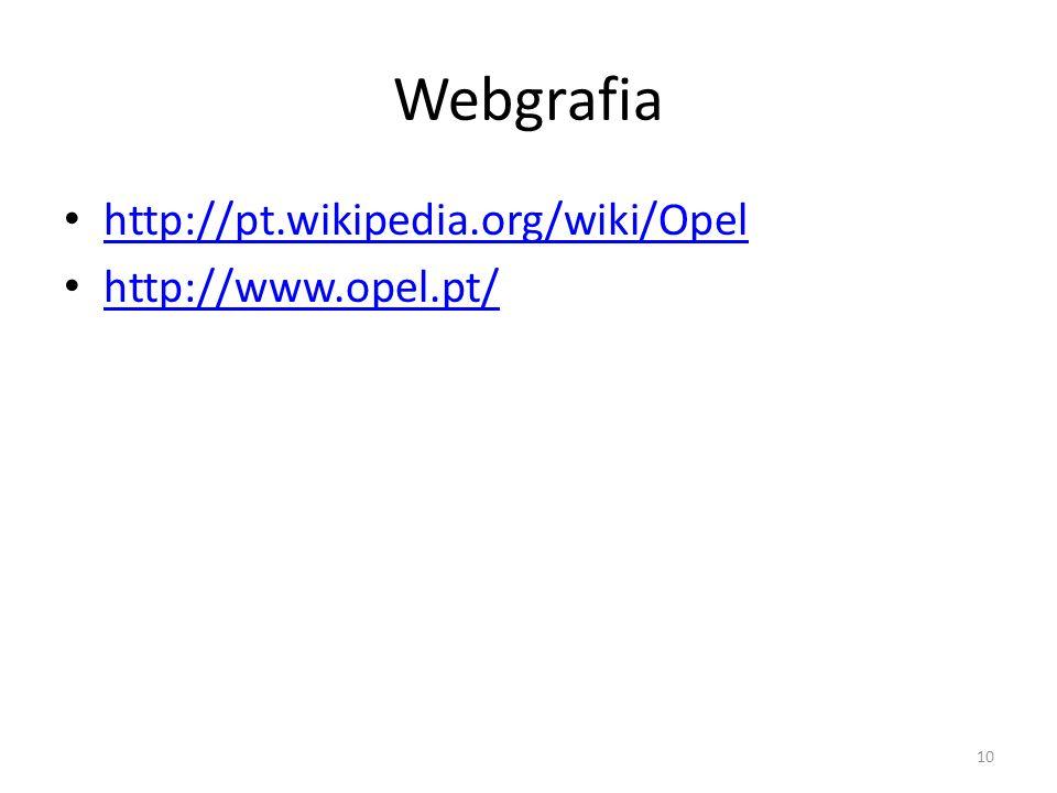 Webgrafia http://pt.wikipedia.org/wiki/Opel http://www.opel.pt/ 10