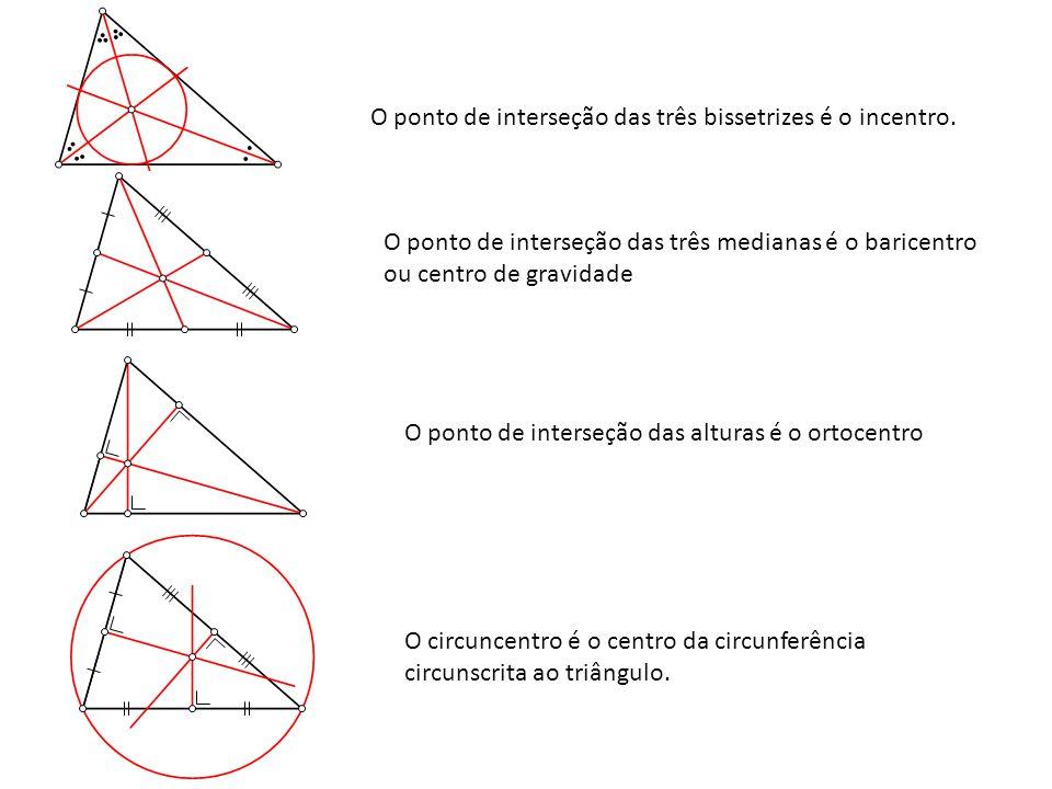 O ponto de interseção das três bissetrizes é o incentro.