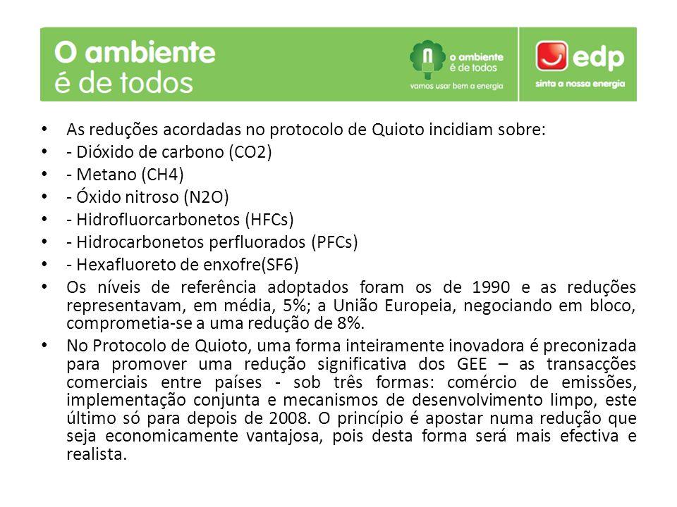 As reduções acordadas no protocolo de Quioto incidiam sobre: - Dióxido de carbono (CO2) - Metano (CH4) - Óxido nitroso (N2O) - Hidrofluorcarbonetos (HFCs) - Hidrocarbonetos perfluorados (PFCs) - Hexafluoreto de enxofre(SF6) Os níveis de referência adoptados foram os de 1990 e as reduções representavam, em média, 5%; a União Europeia, negociando em bloco, comprometia-se a uma redução de 8%.