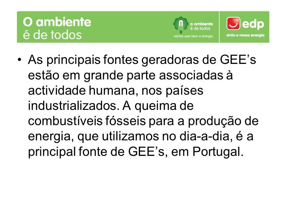 As principais fontes geradoras de GEEs estão em grande parte associadas à actividade humana, nos países industrializados. A queima de combustíveis fós