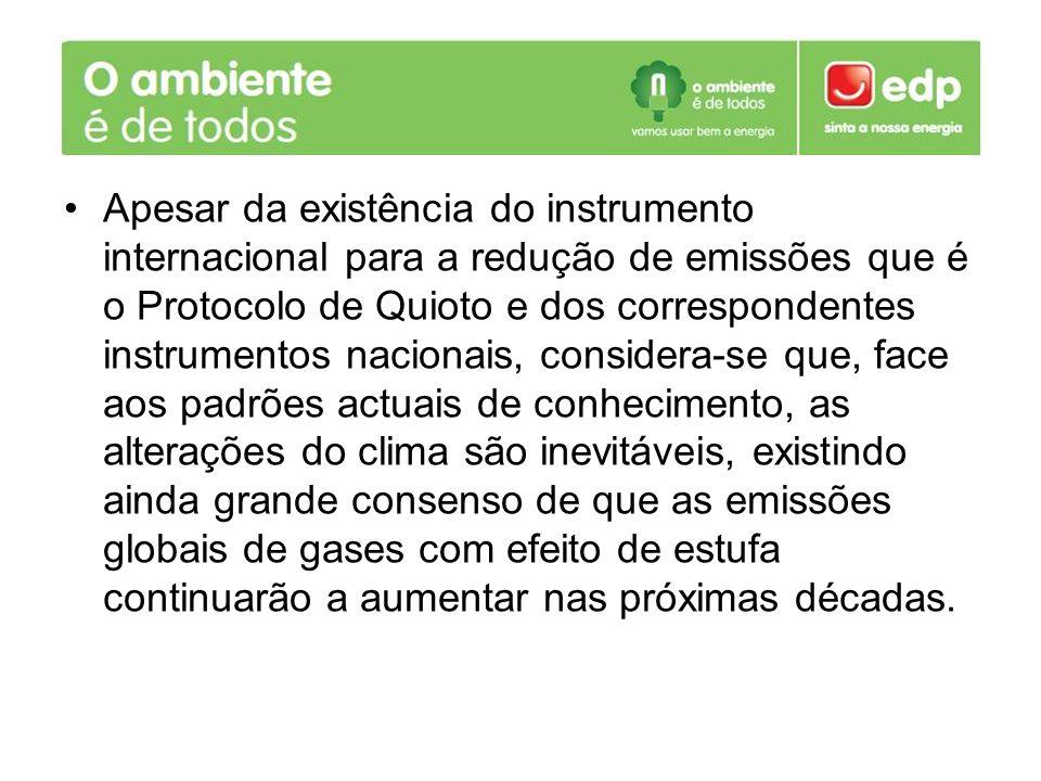 Apesar da existência do instrumento internacional para a redução de emissões que é o Protocolo de Quioto e dos correspondentes instrumentos nacionais,