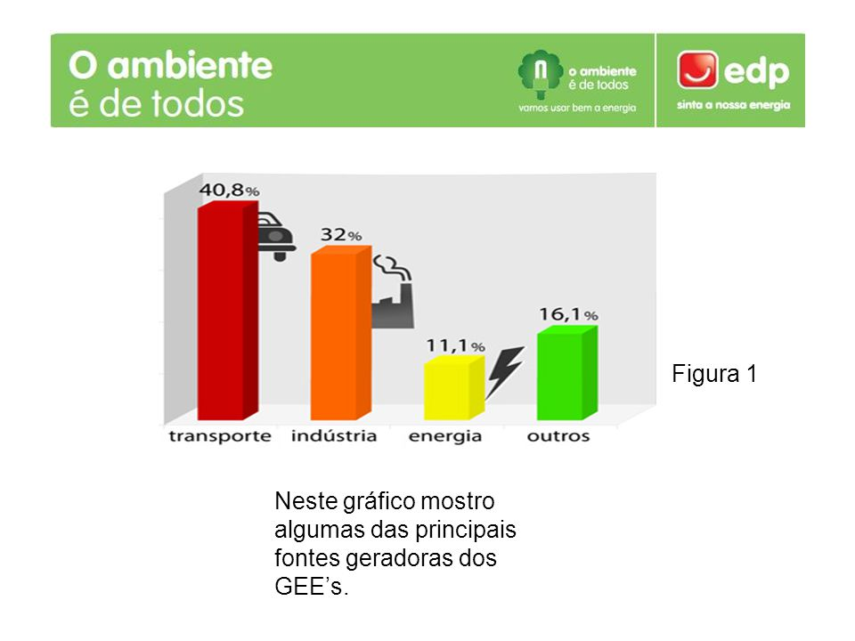 Neste gráfico mostro algumas das principais fontes geradoras dos GEEs. Figura 1