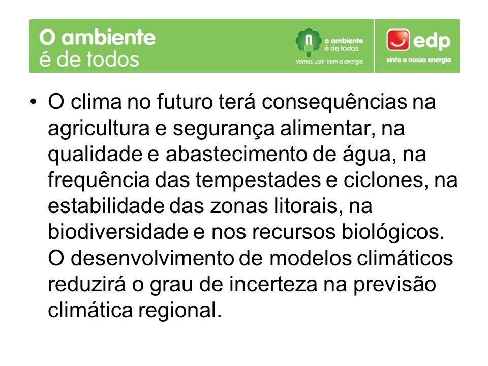 O clima no futuro terá consequências na agricultura e segurança alimentar, na qualidade e abastecimento de água, na frequência das tempestades e ciclones, na estabilidade das zonas litorais, na biodiversidade e nos recursos biológicos.