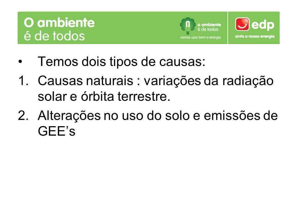 Temos dois tipos de causas: 1.Causas naturais : variações da radiação solar e órbita terrestre. 2.Alterações no uso do solo e emissões de GEEs