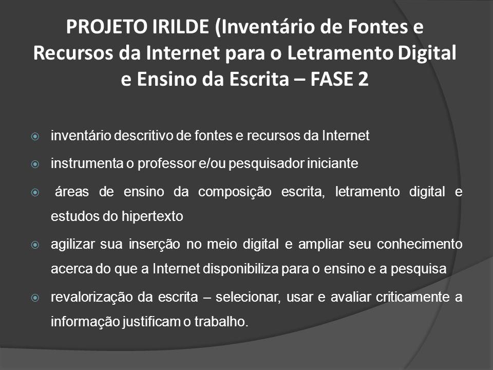 PROJETO IRILDE (Inventário de Fontes e Recursos da Internet para o Letramento Digital e Ensino da Escrita – FASE 2 inventário descritivo de fontes e r