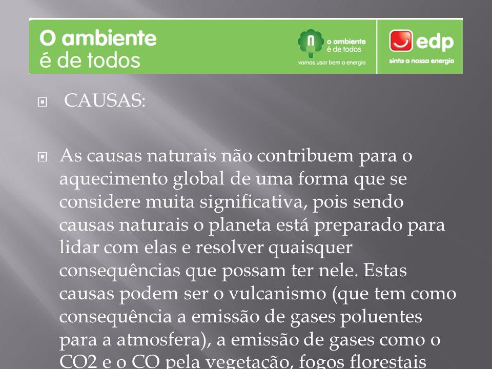 CAUSAS: As causas naturais não contribuem para o aquecimento global de uma forma que se considere muita significativa, pois sendo causas naturais o pl