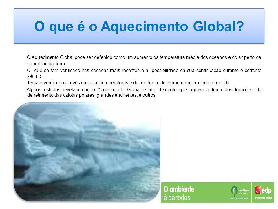 O que é o Aquecimento Global? O Aquecimento Global pode ser defenido como um aumento da temperatura média dos oceanos e do ar perto da superfície da T