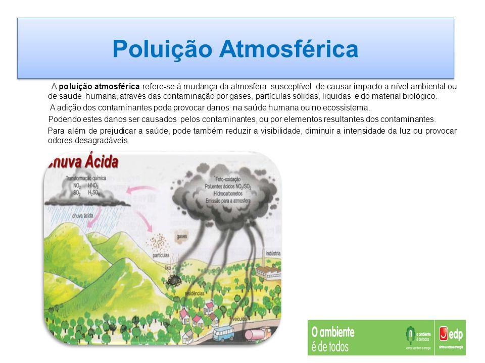 Poluição Atmosférica A poluição atmosférica refere-se á mudança da atmosfera susceptível de causar impacto a nível ambiental ou de saude humana, atrav