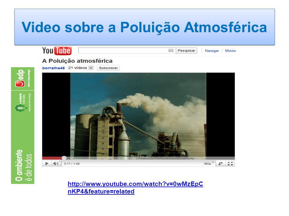Video sobre a Poluição Atmosférica http://www.youtube.com/watch?v=0wMzEpC nKP4&feature=related