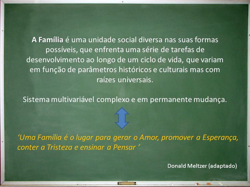 A Família A Família é uma unidade social diversa nas suas formas possíveis, que enfrenta uma série de tarefas de desenvolvimento ao longo de um ciclo de vida, que variam em função de parâmetros históricos e culturais mas com raízes universais.