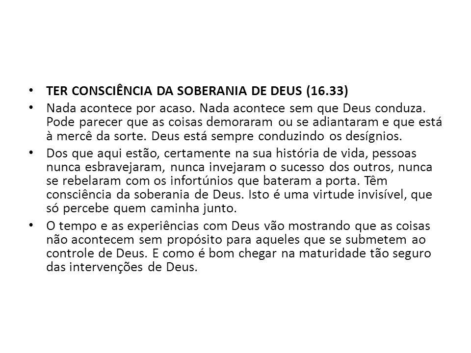TER CONSCIÊNCIA DA SOBERANIA DE DEUS (16.33) Nada acontece por acaso. Nada acontece sem que Deus conduza. Pode parecer que as coisas demoraram ou se a