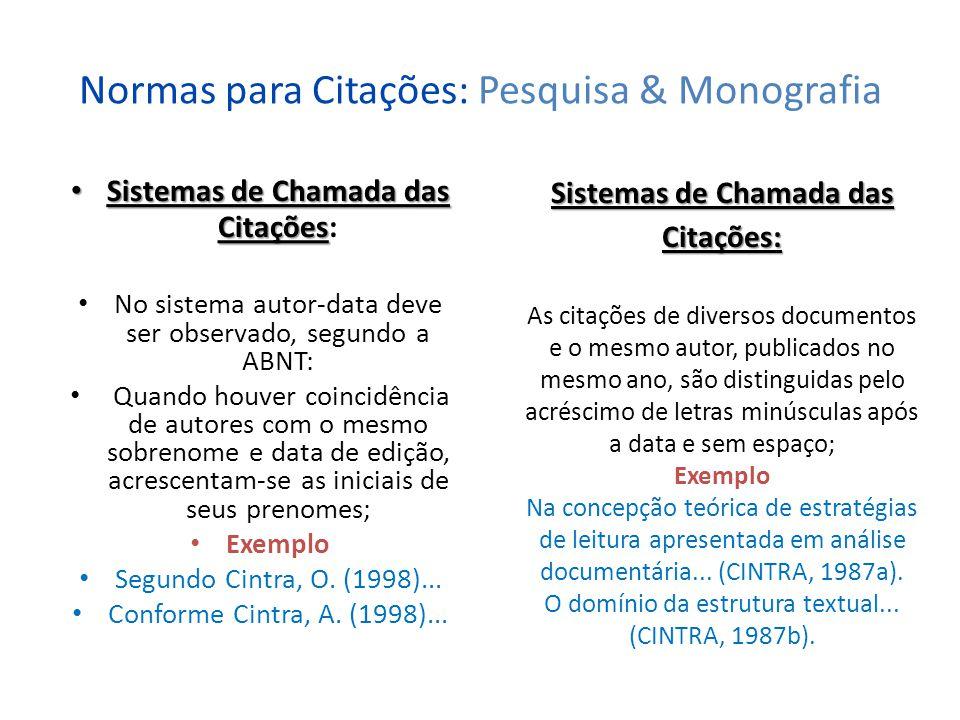 Referências Bibliográficas: Pesquisa & Monografia Referências Bibliográficas Referências Bibliográficas: É o conjunto de elementos que permitem a identificação da citação feita ao longo do texto de monografia.