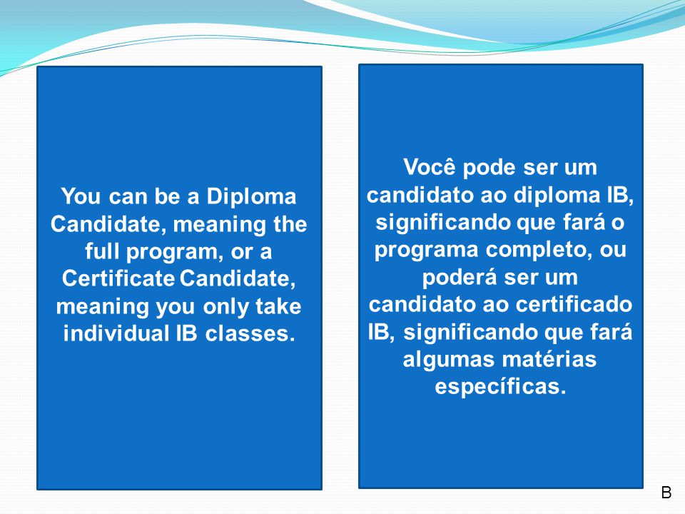 You can be a Diploma Candidate, meaning the full program, or a Certificate Candidate, meaning you only take individual IB classes.
