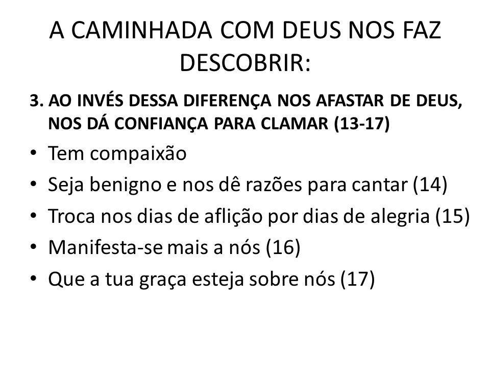 A CAMINHADA COM DEUS NOS FAZ DESCOBRIR: 3.