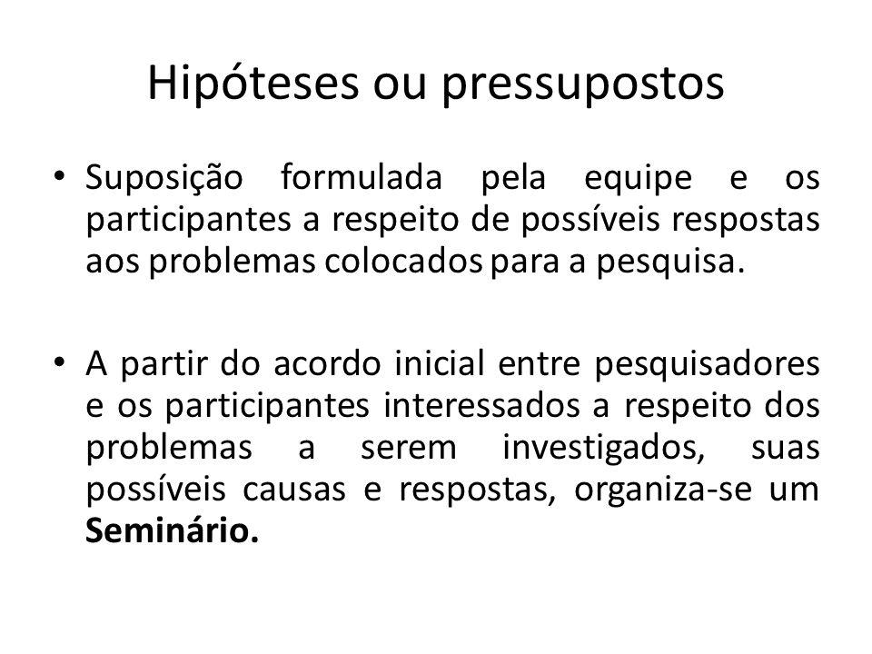 Hipóteses ou pressupostos Suposição formulada pela equipe e os participantes a respeito de possíveis respostas aos problemas colocados para a pesquisa.