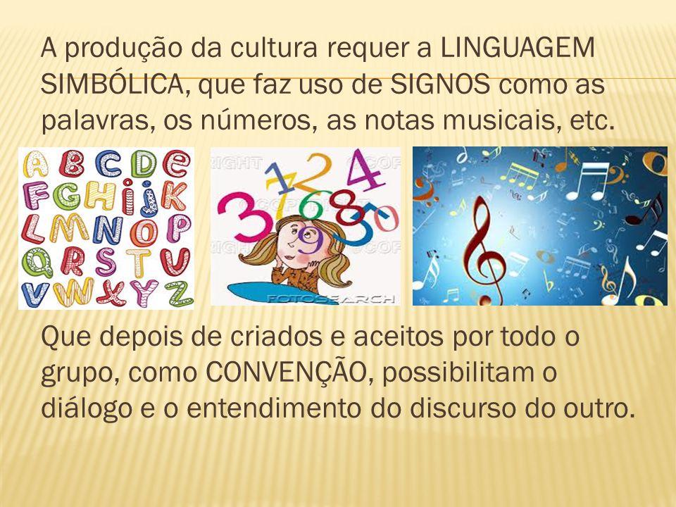 A produção da cultura requer a LINGUAGEM SIMBÓLICA, que faz uso de SIGNOS como as palavras, os números, as notas musicais, etc. Que depois de criados