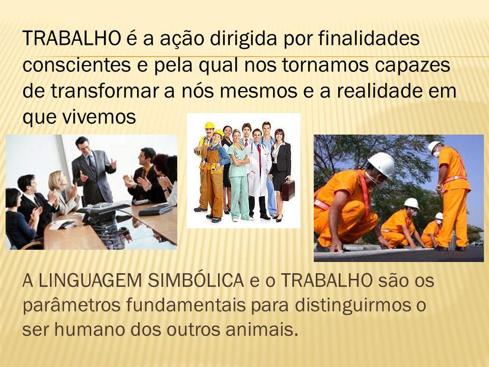A LINGUAGEM SIMBÓLICA e o TRABALHO são os parâmetros fundamentais para distinguirmos o ser humano dos outros animais. TRABALHO é a ação dirigida por f