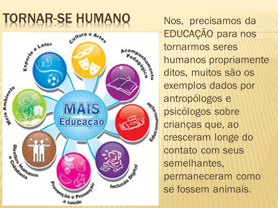Nos, precisamos da EDUCAÇÃO para nos tornarmos seres humanos propriamente ditos, muitos são os exemplos dados por antropólogos e psicólogos sobre cria