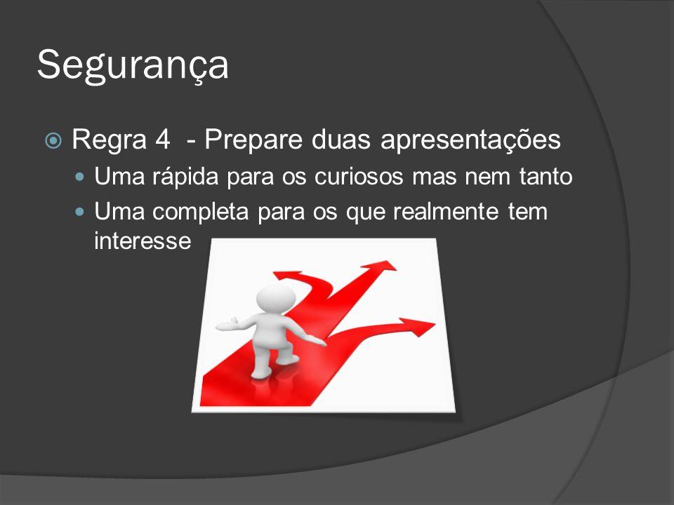 Segurança Regra 4 - Prepare duas apresentações Uma rápida para os curiosos mas nem tanto Uma completa para os que realmente tem interesse